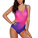 Costume da Bagno Donna Color Matching Belly One-Piece Body Shaping Gradient Color Cross Push up Large Taglie Sporty Beachwear Costumi da Bagno Costume da Bagno L