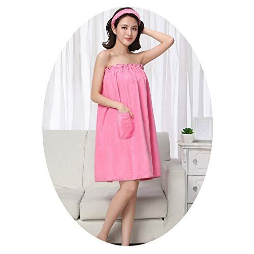 LGQ-YF Badetuch Wrap Haar Turban Set Soft-Spa Dusche Bademantel Vertuschung-Bade Tubekleid Bademantel Frauen (Color : Pink)