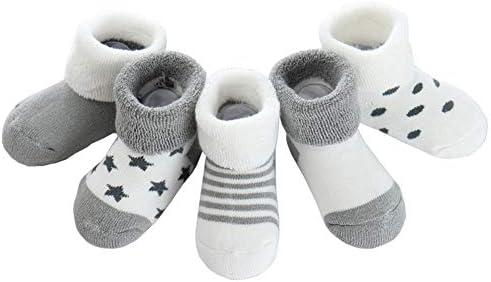 Z-Chen Pack de 5 Pares de Calcetines Bebé Niño Niña Algodón, Gris, 0-6 Meses