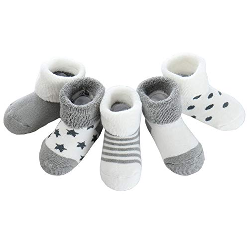 Z-Chen Pack de 5 Pares de Calcetines Bebé Niño Niña Algodón, Gris, 6-12 Meses