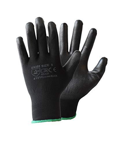 Guantes de trabajo de nailon negro con revestimiento de poliuretano para constructores, jardineros, etc. de ASPRO, negro