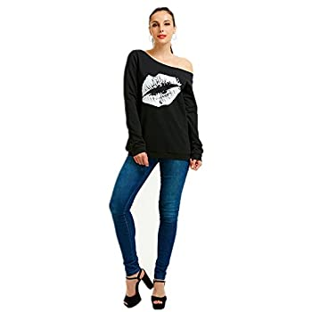 Women's Off Shoulder Sexy Lips Slouchy Shirt