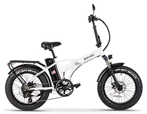 SOHOO 48V500W12AH 20' x4.0 Adult Folding Fat Tire E-Bike Mountain Electric Bicycle Beach Cruiser Snow Bike