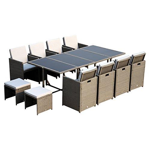 Outsunny Polyrattan Sitzgruppe Gartenmöbel Sitzgarnitur 13 TLG. mit Kissen Stahl Grau