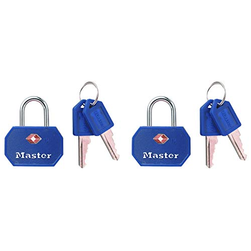 Master Lock 4681EURTBLR Confezione da 2 Lucchetto per bagagli in alluminio approvato dalla TSA, Blu o Rosso, 4 x 3 x 2.2 cm