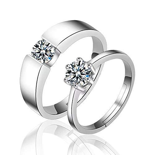 Anillo de compromiso,Anillo de pareja abierto 1 Juego Anillos para hombres y mujeres Adecuado para anillos de boda y anillos de compromiso