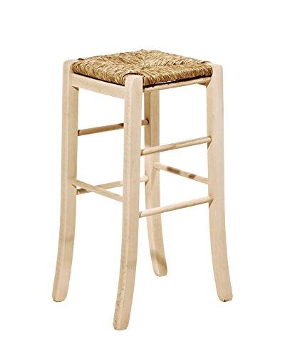 Taburete de madera al natural, de 67 cm de altura, por pintar, con asiento de paja de forma cuadrada (viene montado)
