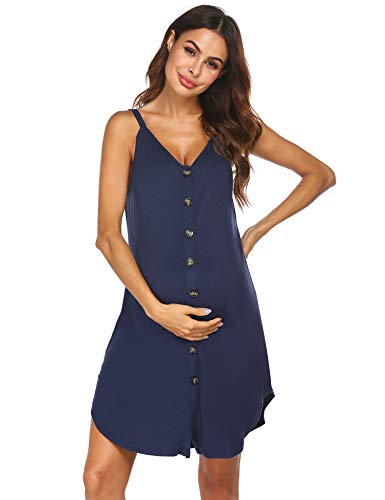 Ekouaer Nursing Nightgown Women's Maternity Dress Button Down Nightdress Sleeveless Breastfeeding Sleepwear Hospital Gown Navy Blue