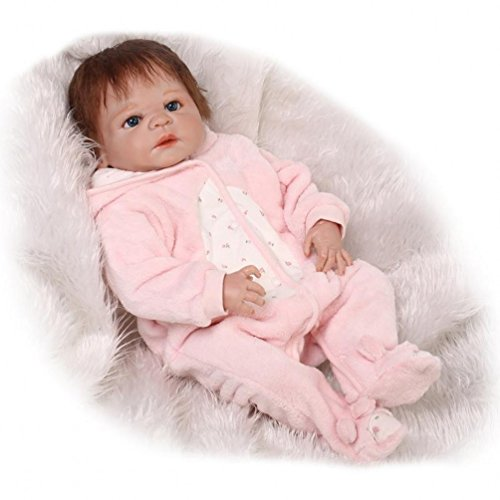 ZIYIUI Reborn Baby-Puppen 20 Zoll 50 cm Ganzkörpersilikon Keine Vinylpuppen Lebensechte Baby Dolls Reborn Baby Mädchen Spielzeug Geschenk