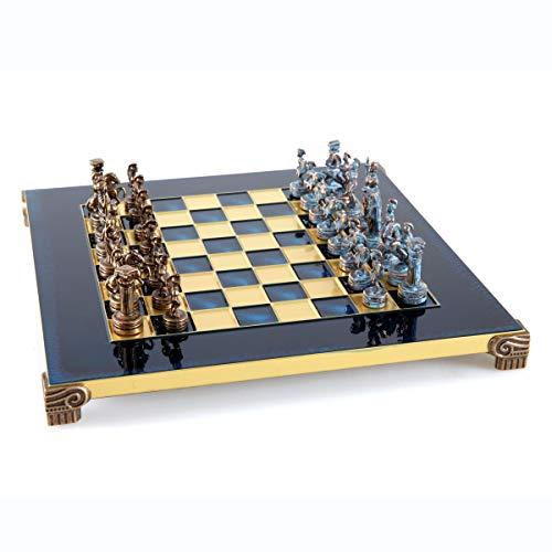 Juego de ajedrez del ejército griego romano – azul y cobre con tabla azul