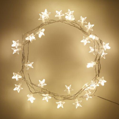 Lights4fun Guirlande Lumineuse d'Intérieur 30 Etoiles avec LED Blanc Chaud
