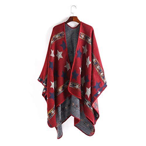 Nvshiyk Chal Pashmina Style Style Star Pattern Split Shawl Warm Bufanda Mujeres Otoño e Invierno Europa y América Suave cálido (Color : Wine Red, Size : 160x135cm)