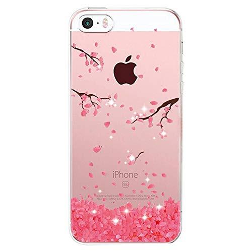 Alsoar Compatibile per Custodia iPhone 5S   5   SE 2016, Cover iPhone 5S 5 Silicone, Cover Case Silicone Trasparente Morbido Sottile Gel Protettiva Shock-Absorption (Fiore)