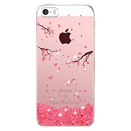 Alsoar Compatibile per Custodia iPhone SE(Non iPhone SE 2020), Cover iPhone 5S/5 Silicone, Cover per iPhone 5s 5 Case Silicone Trasparente Morbido Sottile Gel Protettiva Shock-Absorption (Fiore)