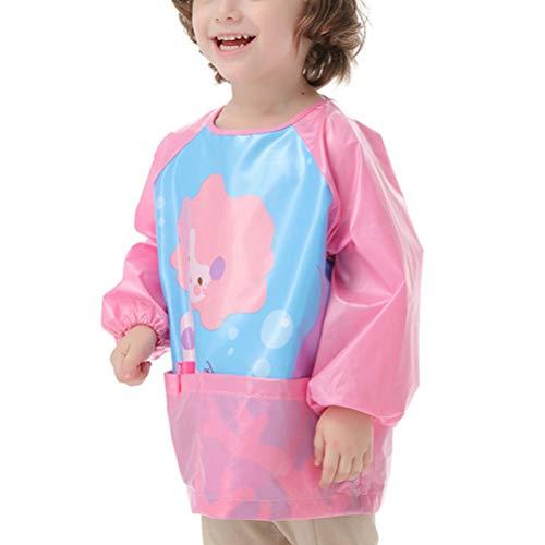 VALICLUD - Delantal de bebé para niños con pechera impermeable con delantal y bolsillos impermeables para pintar, cocinar, nuter y cocinar para niños, niñas y niños Modello Sirena M