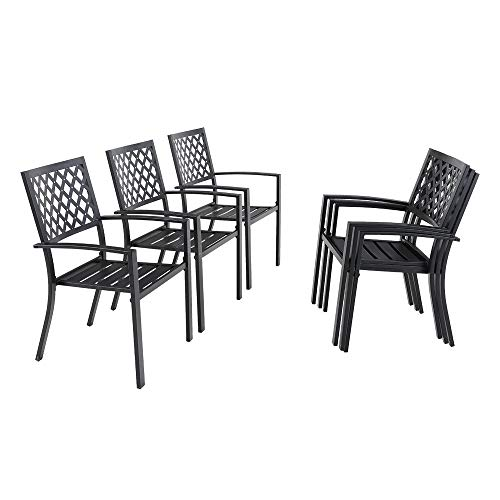 PHI Villa Metal Patio Outdoor Bistro Dining Chairs Set of 6 with Arms - Black Support Stackable