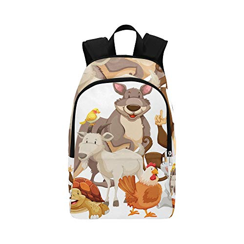 WSNWCY Girls Bag for College Farm Yard Cute Cartoon Animal Family Wild Home Durable Water Resistant Classic Tiny Bookbags for Women Bag for School Supplies Sports Bag for Kids Casual Bags for Men