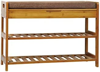 C AHOME 3 Tier Shoe Rack Bench Entryway Shoe Organizer Bamboo Storage Shelf Holds up to 260LBS product image