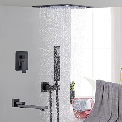 Saeuwtowy Sistema de ducha oculto, grifo de ducha con interruptor manual incorporado, modo de ducha y salida de agua con rociador de techo, cabezal de ducha de latón negro de 16 pulgadas