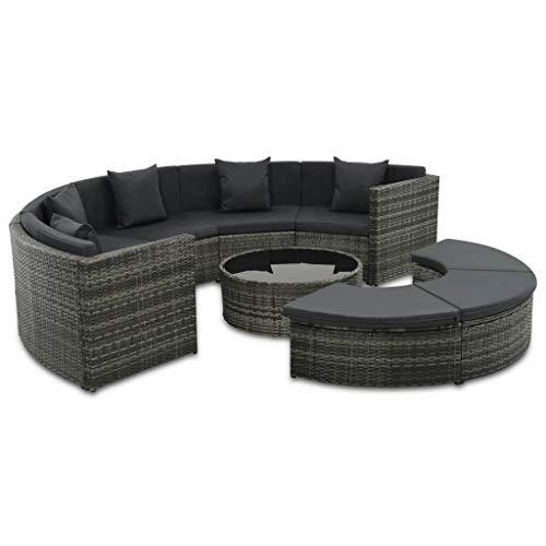 Festnight 7-delige Loungeset met kussens Eettafel en stoel salontafel voor eetkamer woonkamer keuken poly rattan grijs