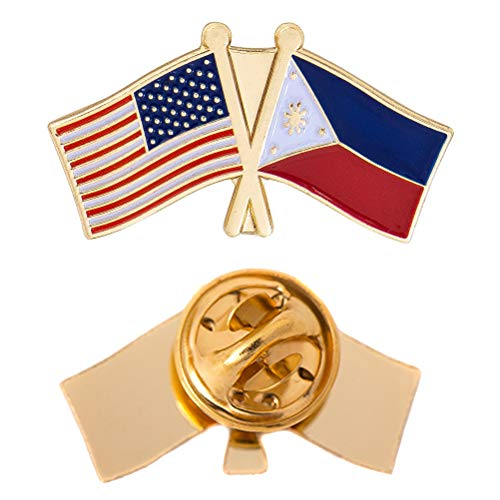 Philippines Country Lapel Enamel with United States USA Souvenir Hat Men Women Patriotic (Double Flag Pin)