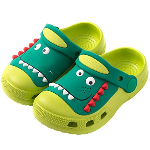 Boys Girls Clogs Toddler Little Kids Sandals Cartoon Dinosaur Garden Beach Water Slipper Size 8.5 Color Green