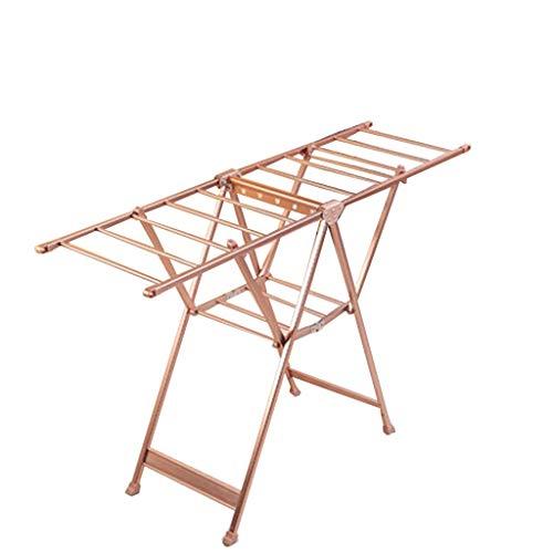 Tendedero Plegable de Metal de Interior del Piso y Rack Balcón Secado de Ropa (Color : Brown)