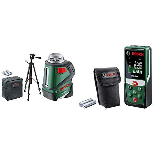 Bosch Linienlaser PLL 360 Set mit Stativ (Arbeitsbereich: 20 m, Genauigkeit: ± 0,4 mm/m, in Schutztasche) & Entfernungsmesser PLR 30 C (mit App-Funktion, Messbereich: 0,05–30 m, Genauigkeit: ± 2 mm)