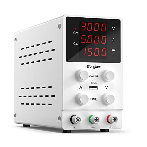 Kungber Labornetzgerät 0-30V / 0-5A, DC Regelbar Netzgerät mit 4-stelliger LED-Anzeige, Labornetzteil Netzteil Strommessgeräte, Überlast- & Kurzschlussfest (Weiß)