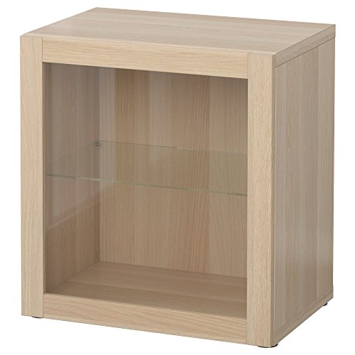 BEST<b regał ze szklanymi drzwiami 60 x 40 x 64 cm Sindvik biały efekt dębu