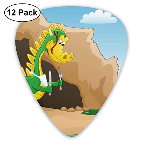 Rterss Sampler Gitaar Pick Klassieke Picks 12-pack Voor Elektrische Gitaar Akoestische Gitaar Mandoline En Bass Gelukkig Draak Cartoon Aangepast