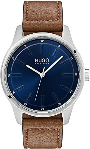 HUGO Herren Analog Quarz Uhr mit Leder Armband 1530029