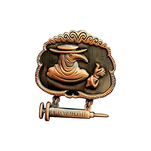 Distintivo d onore peste medico vaccino smalto spilla, fibbia ad ardiglione anti-epidemia, divertente pulsante spille gioielli Steampunk gotico vintage (rame)