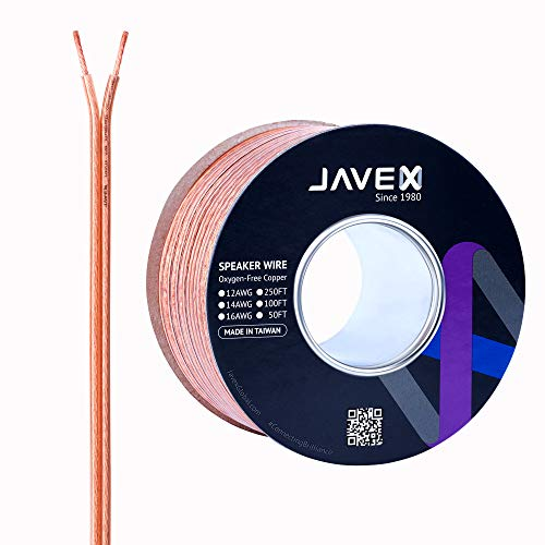 12-Gauge AWG JAVEX Speaker Wire OFC Oxygen-Free Copper 99.9% Cable for Hi-Fi Systems, Mixer, Amplifiers, AV receivers, Home Theater, Subwoofer, Soundbar, 50 FT