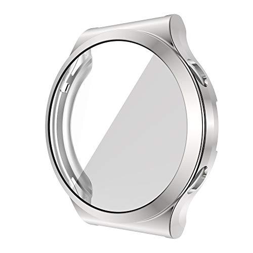 ZAALFC Funda de silicona para Huawei GT 2 Pro Tpu Full Protector de pantalla Hd Accesorios para reloj Cover BumperCase Shell nuevo (color de la correa: plata, ancho de la correa: para GT2 PRO)