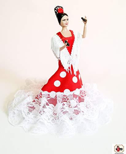 Folk Artesanía Muñeca andaluza o Flamenca 20 cm, Lunares o Vestido Liso (Negro Lunar Rojo)