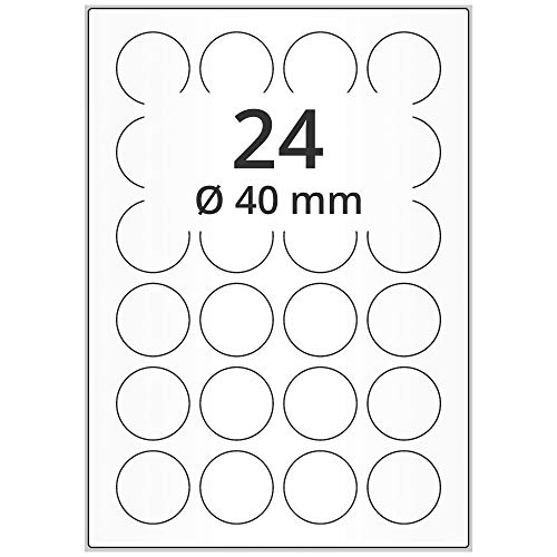 Labelident Universal Etiketten weiß - Ø 40 mm - 12000 Papieretiketten rund selbstklebend auf 500 DIN A4 Bogen, Laseretiketten matt