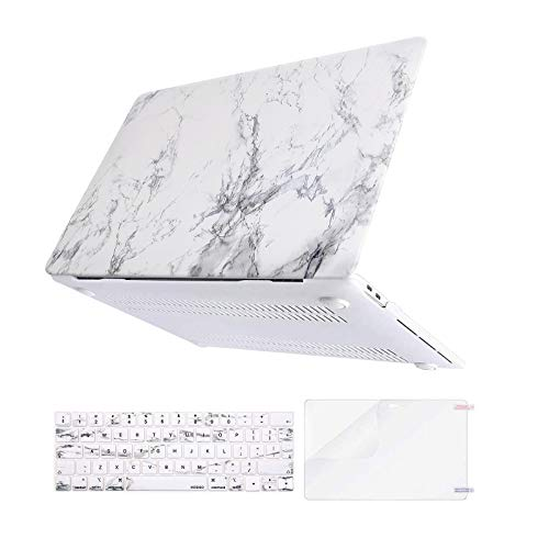 MOSISO Compatible with MacBook Pro 13 inch Case 2016-2020 Release A2338 M1 A2289 A2251 A2159 A1989 A1706 A1708, Plastic Hard Case & Keyboard Cover Skin & Screen Protector, White Marble