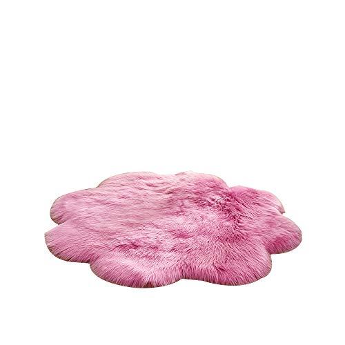 Almabner Weicher Kunstplüschteppich, europäischer Stil, Heimdekoration, Massive Blumen-Form, Flauschige Fußmatte, Sitzkissen, Kunstwolle, Warmer Teppich, Rose, Free Size