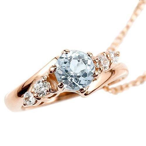 [アトラス] Atrus ネックレス メンズ 10金 ピンクゴールドk10 アクアマリン ダイヤモンド ベビーリング ペンダント トップ 3月誕生石 チェーン(sv925ピンクメッキ)