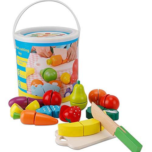 Hölzernes Geschnittenes Obst und Gemüse als Spielzeug Küche Simulation Bildungs Spielzeug für Kinder im Vorschulalter Kleinkinder Jungen Mädchen für Geeignet für ab 2 Jahren Kindertagsgeschenke