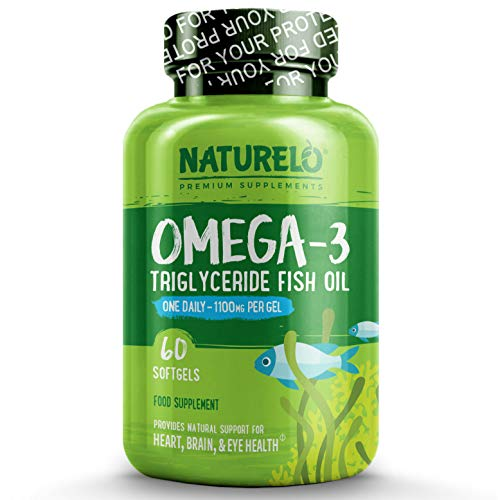 NATURELO Omega-3 Fish Oil Supplement - EPA + DHA - 1100 mg Triglyceride Omega-3 per Gel - One A Day - for Heart, Eye, Brain, Joint Health - No Burps - Lemon Flavor - 60 Softgels   2 Month Supply