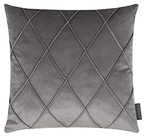 Magma-Heimtex Nobless - Set di 2 federe per cuscino in velluto, meravigliosamente morbide e traspiranti, Made in Germany, 40 x 40 cm, colore: Grigio