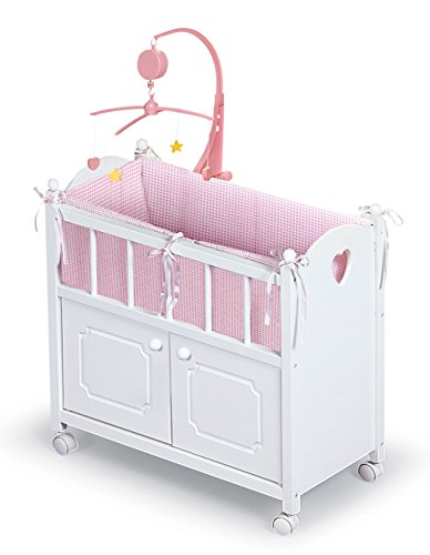 Badger Basket Cabinet Doll Crib with Gingham Bedding, Musical Mobile, Wheels, and Free Personalization Kit (fits American Girl Dolls), White/Gingham (01721)
