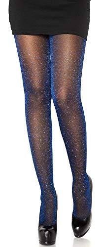 Leg Avenue Damen Strumpfhose mit Glitzer Effekten schwarz royal blau Einheitsgröße ca. 36 bis 40