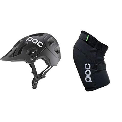 POC Tectal, Unisex Erwachsene Fahrrad Helm,schwarz (Uranium Black), XS-S (51-54 cm) & Knieschoner Joint Vpd 2.0 Knee, Uranium Black, M