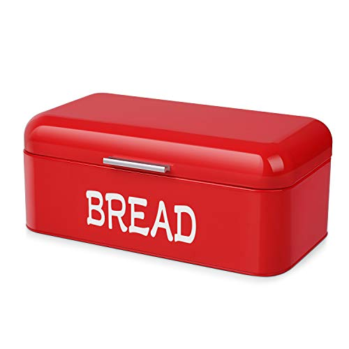 Flexzion Vintage Metal Bread Box for Kitchen Counter, Bread Bin Storage Container Steel Countertop Space Saving, for Homemade Machine Bread Refrigerator Travel Camping Bakery Cafe, Red
