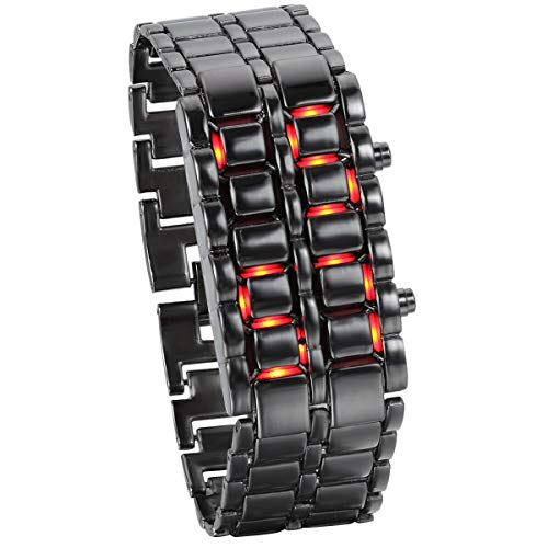 Women's Men's Watches Fashion Novelty Lava Red Blue LED Digital Stainless Steel Black Bracelet Watches (Red)
