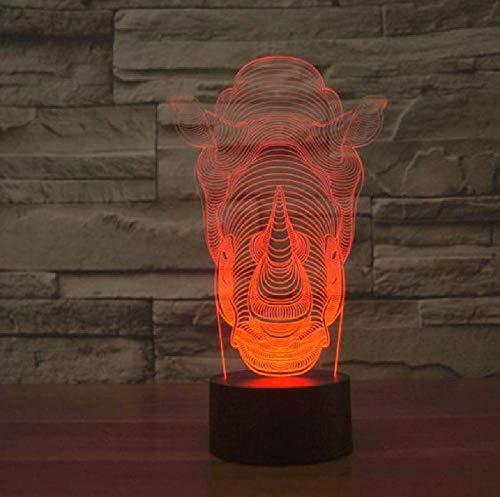 Rhino 7 Color 3D Lampe Led Gradient Illusion Licht Berührungsschalter Schalter 3D Leuchten Neuheit Luminaria Led Nachtlicht
