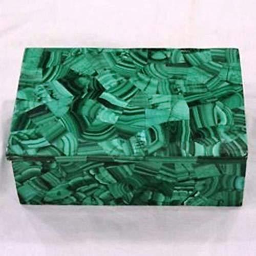Caja rectangular de mármol con caja de joyería de trabajo con revestimiento de piedra de malaquita en 5 x 3.5 pulgadas